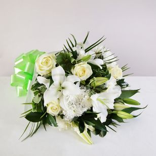 White Lily Rose Funeral Sheaf