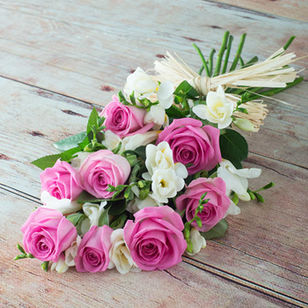 Pink Roses with White Freesia