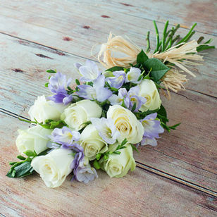 White Roses with Lilac Freesia