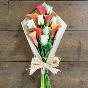 White Roses with Orange Calla Lilies