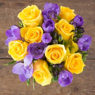 Golden Roses with Purple Freesia