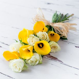 Yellow Calla and White Roses