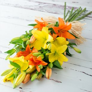 Warm Orange and Yellow Asiatic Lilies